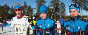 Oliver Rusk, Santeri Karppinen och Casper Hjerpe från Norrvalla Ski Team