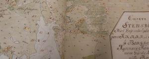 Bild av en gammal karta i en hushållsbok.