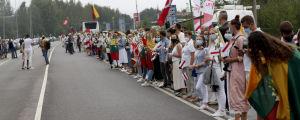Mänskokedja i Litauen från Vilnius till Belarus gräns.