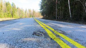Gula körbanemarkeringar på Vålaxvägen i Borgå