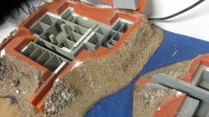 En miniatyrmodell av en bunker på Hangö frontmuseum.