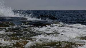 Meren aallot iskevät vaahtoavina rantakallioihin.