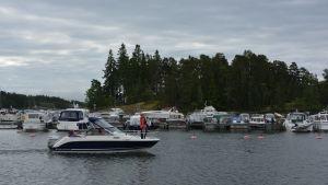 Båt kör in i båthamnen Predium.