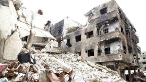 Palestisnka flyktinglägret al Yarmuk söder om Damaskus som IS tog konroll över