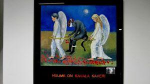huumevalistusjuliste, jossa on mukailtu maalausta haavoittunut enkeli