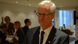 Heikki Pälve chef för läkarförbundet intervjuas i samband med Läkardagarna i Helsingfors 13.1.2016