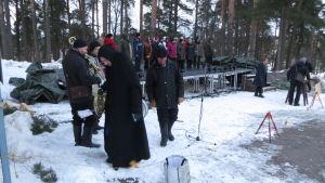 Musikernas och körens soundcheck inför repetitionen av Via Crucis i Borgå 2016