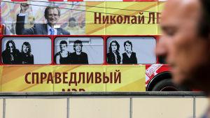 Rättvisa Rysslands valaffisch med partiledaren Nikolaj Levitjev under borgmästarvalet i Moskva 2013.