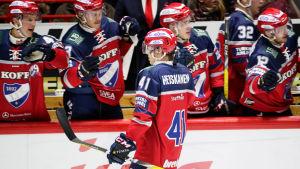 Miro Heiskanen firar ett mål, HIFK, hösten 2016.