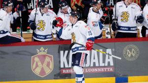 Miro Aaltonen firar landslagskarriärens första mål i Helsingfors.