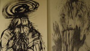 svartvita teckningar av två gubbar