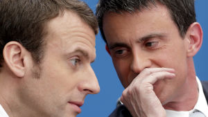 Manuel Valls och Emmanuel Macron i april 2015.