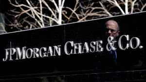 Namnskylt för JP Morgan Chase i New York.