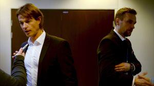 Chefstränarna HJK:s Mika Lehkosuo och HIFK:s Jani Honkavaara.