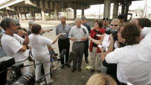 President Bush pressades hårt i efterdyningarna av Katrina.