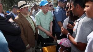 Ban Ki-moon på flyktingläger i Lesbos