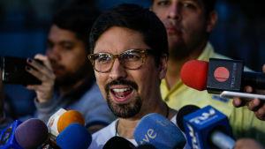 Den venezuelanske oppositionsledaren och parlamentarikern Freddy Guevara vid en presskonferens i Caracas 20.7.2017.