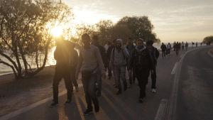 Flyktingar från Syrien kom till Lesvos med gummibåt från Turkiet.