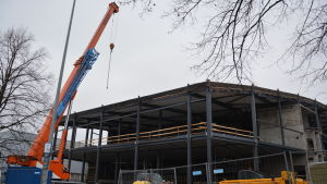 Byggarbetsplatsen där nya bollhallen byggs i Åbo.