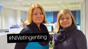 Skolkurator Åsa Carlsson från Vasa övningsskola och Sarah Storm från Folkhälsan.