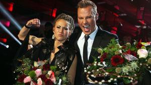 Mariette och Magnus Carlsson firar att de gick vidare till final.