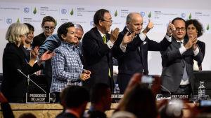 Francois Hollande, Ban Ki-moon,Laurent Fabius, Christiana Figueres