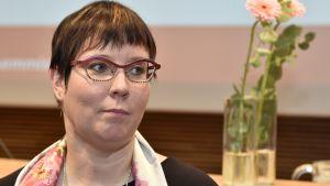 Merja Kyllönen valdes till Vänsterförbundets presidentkadidat vid partifullmäktige i Helsingfors den 18 mars 2017.
