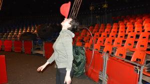 Michelle Musser från San Francisco är clown på Sirkus Finlandia 2015.