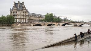 Människor står vid en översvämmad bro och ser över den översvämmade Seine och på museet Louvre.