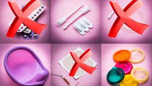 En rad olika preventivmedel. Både med hormoner och utan.