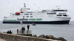 Scandlines färja som går mellan Tyskland och Danmark.