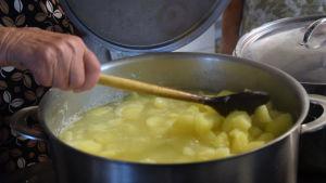 En hand håller i en slev och rör om i en stor kastrull med potatis.