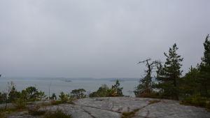 Falkofjärden i dimma.