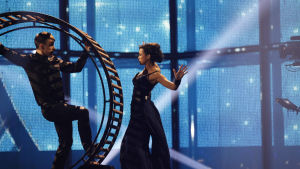 Ukrainas Mariya Yaremchuk på Eurovisionsscenen.
