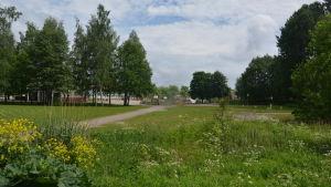 På den här tomten invid Ekenäs högstadieskola planeras ett daghem.