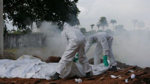 During an ebola outbreak, funeral rituals are most important contamination vectors. Here bodybags disinfected with chlorine.