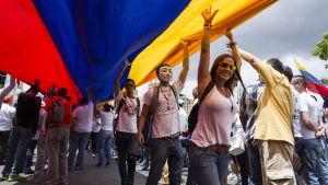 Oppositionen demonstrerar mot regimen i Venezuela i juni 2014