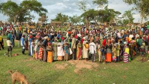 I flyktinglägret Rwamwanja, Uganda, bor omkring 6000 personer.