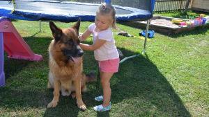 Maja och hunden Nalle hemma i Korpo.