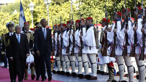 USA:s president Barack Obama och Greklands president Prokopis Pavlopoulos.