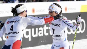 Marit Björgen och Charlotte Kalla, VM 2017.