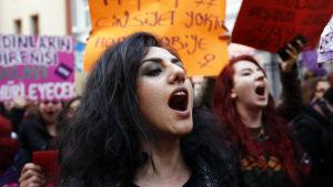 Kvinna protesterar mot resultatet i folkomröstningen i Turkiet. Bilden tagen den 17 april.