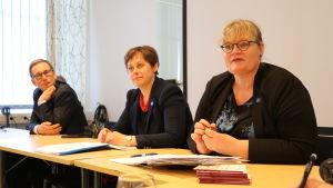 Förvaltnings-och utvecklingschef Dan E. Eriksson, statssekreterare Paula Lehtomäki och Ålands lantråd Katrin Sjögren