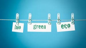 Lappar med texten bio, green och eco hänger på ett klädstreck.