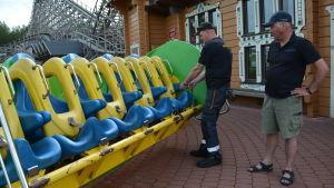 Servicearbetaren Timo Aronen och tekniska chefen Petri Sariola inspekterar en av nöjesfältets attraktioner.