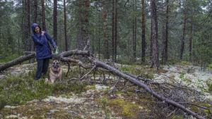 Merja Enroos, invånare i Kalajärvi, vid en gammal trädstam i skogen.