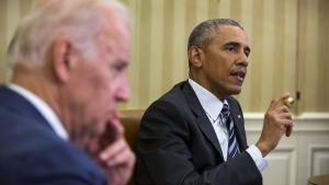 USA:s president Barack Obama och vice presidenten Joe Biden talar med media om masskjutningen i Orlando.
