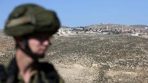 En israelisk bosättning nära byn Bani Naem på Västbanken 11.1.2017