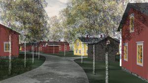 Arkitektbyrån Ark LKL har framställt några konceptbilder på traditionsbyn i Tallmo, Sibbo.
