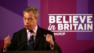 Nigel farage, ordförande för nationalistpatiet Ukip